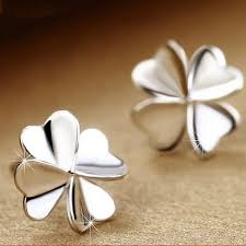 Women's Cute Lucky <b>Clover Shape Earrings</b> 925 Silver Ear Stud ...