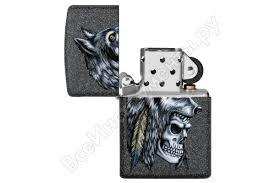 <b>Зажигалка ZIPPO Wolf Skull</b> с покрытием Iron Stone, 38x13x57 мм ...