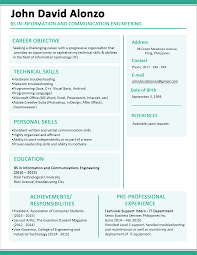 sample simple one page resume template resume sample information information and communication engineering resume template example pre professional experience sample