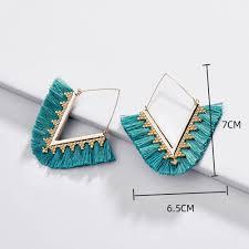 <b>Tassel</b> earrings Korean Fan shaped gold Hoop Earrings for Women ...