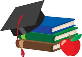 Clipart image of books with an apple and graduation cap