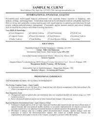 International Financial Analyst Resume Free Resume Templates