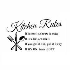 Kitchen Rules Restaurant <b>Wall</b> Sticker Decal Mural DIY <b>Home Decor</b> ...