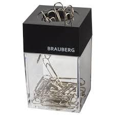 <b>Скрепочница магнитная BRAUBERG</b> с 30 скрепками, прозрачный ...