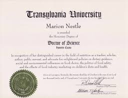 food politics by marion nestle an honorary degree from transylvania university is a small 1 000 students liberal arts college in lexington kentucky and there s no point in making vampire jokes