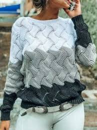 Color Block Casual Knitted Sweater в 2020 г | Женские <b>кардиганы</b> ...