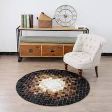 Round Cowhide Brown <b>Patchwork Rug Genuine</b> Cow Skin <b>Rug</b> 4ft x ...