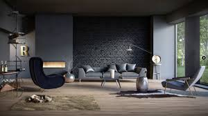 f fashionable apartment living room design ideas with dark brick stone wall decor and grey leather plose sofa on wooden flooring as well as modern wall brick living room furniture