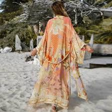 FCP <b>BOHO</b> Floral print <b>kimono</b> cardigan long <b>blouse</b> swim cover up