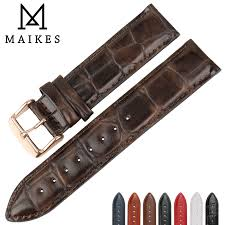 <b>MAIKES</b> Quality Leather Watch Band Brown With Rose Gold Clasp ...