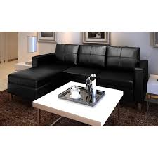 vidaXL <b>3-Seater</b> L-shaped <b>Artificial</b> Leather <b>Sectional Sofa</b> Black ...