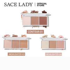 SACE LADY <b>3 Colors Highlighter</b> Contour Bronzer Blush Pigmented ...