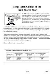 long term causes of wwi facts information gcse worksheet long term causes of wwi