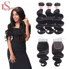 <b>LS Hair Brazilian Water</b> Wave Bundles With Closure Remy Human ...