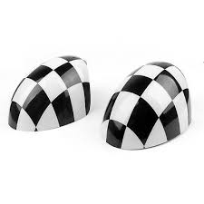 <b>2x</b> Checkered WING Mirror Covers Fit MINI Cooper <b>R55 R56 R57</b> ...