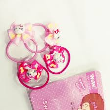 <b>Hello Kitty</b> ponytail <b>4pcs</b>/pack <b>hair</b> tie set for girl pony | Shopee ...