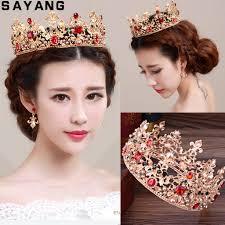 <b>Baroque</b> Queen Pearl Crystal Gold Tiaras <b>Bridal Wedding</b> Jewelry ...