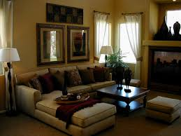 minimalist living room ideas with beige sectional sofa also wooden coffee table and throw pillows and brown living room furniture ideas