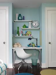 home office with blue tiny blue home office dark wood