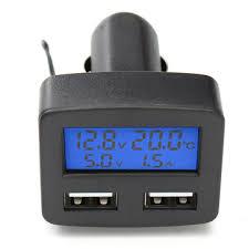 <b>12v 24v universal</b> dual usb interface car charger <b>with</b> voltmeter ...