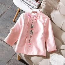 Spring <b>Women</b> Pink Satin Embroidery Shirt <b>Elegant Flower</b> ...