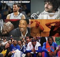 Yo, Ricky how'd you get injured? Trying to guard kobe - Season ... via Relatably.com