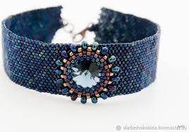 <b>Браслет</b> из бисера с кристаллом <b>Swarovski</b> (<b>синий</b>) – заказать на ...