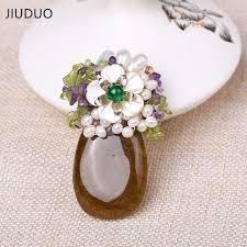 <b>JIUDUO</b> Green Crystal Brooch Pendant With Two Kinds Of Plum ...