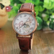 popular vintage mens watches buy cheap vintage mens watches lots 2016 vintage men s watch women casual leather wrist watches world map antique quartz watch men montre