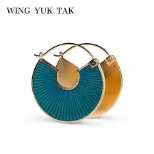 wing yuk tak <b>Luxury</b> Geometric Colorful Crystal Stud <b>Earrings For</b> ...