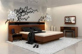 fascinating anese bedroom interior designs style with low wood bed and mural wallpaper on top asian themed furniture