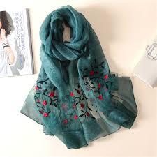 <b>New silk scarf</b> women <b>2019</b> embroidery floral shawl wrap women ...