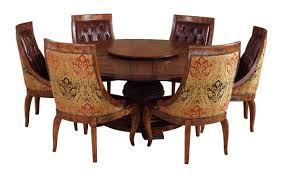 Contemporary Round Dining Table For 6 Furniture Antique And Vintage Expandable Round Pedestal Dining Table Old Decoration Brown Leather Tufted Chairs Wooden Frame Back