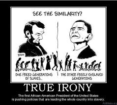 "True Irony....Abraham Lincoln pushed forth the ""freedom of slavery ... via Relatably.com"