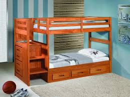 pine wood kids bunk bed in cherry finished having stair and storage drawers combined with gray childrens bunk bed desk full