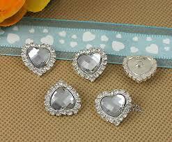 10 X <b>Rhinestone</b> Clear <b>Acrylic</b> Gem Silver Heart <b>Button</b> ...