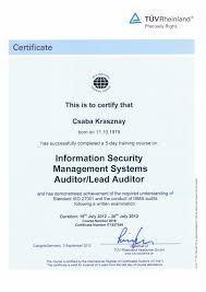 official cv hu iso 27001 information security management systems auditor lead auditor course