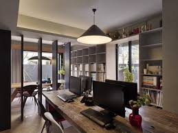 cool modern home office design ideas for multiple users solid hardwood office desk black y white awesome black white office design