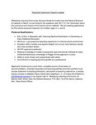 preschool teacher recommendation letter sample preschool teacher cover letter