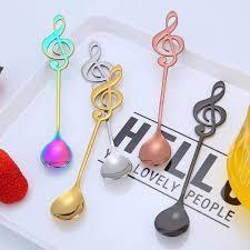 5Pack Lomire <b>Stainless Steel</b> Musical Note Shape Spoon <b>Dessert</b> ...