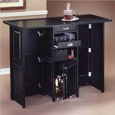 home styles black folding bar with chrome rails black mini bar