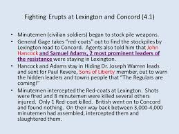 unit  c red are common final terms list unit essay questions for    fighting erupts at lexington and concord       minutemen  civilian  iers  began to