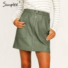 Simplee Vintage Autumn <b>Leather</b> Women Pencil <b>Skirt</b> High Waist in ...