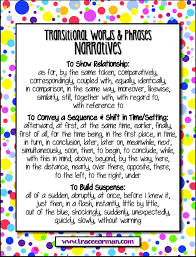 mrs orman s classroom common core tips using transitional words transitions for narratives anchor chart traceeorman com