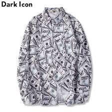 Dark Icon <b>US Dollar</b> Full Print Men's Shirts 2018New <b>Hip Hop</b> Shirt ...