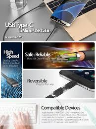 Type C to Micro USB Cable (1 FT), Fosmon USB-C to ... - Amazon.com