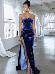Strapless <b>Simple</b> Royal Blue <b>Velvet Long Prom</b> Dresses With Split ...