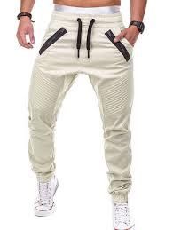 Zipper Embellished Elastic Waist <b>Jogger</b> Pants in Light <b>Khaki M</b> ...