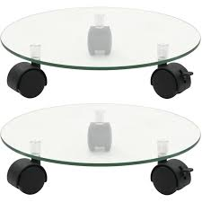 <b>Plant Rollers 2 pcs</b> Tempered Glass 28 cm Round -