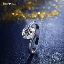 2019 <b>Shipei</b> Round <b>Moissanite</b> Ring For Women <b>Genuine</b> 100 ...